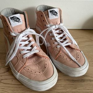 Vans Sk8-Hi high tops in pink leather size 9